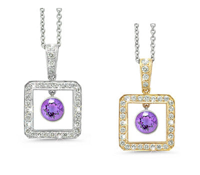 Square Amethyst & Diamond Pendant Necklace