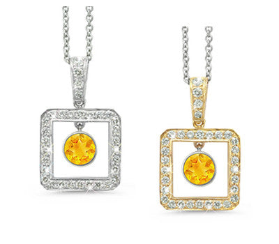 Square Citrine & Diamond Pendant Necklace