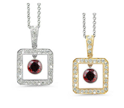 Square Garnet & Diamond Pendant Necklace
