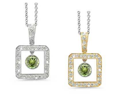 Square Green Tourmaline & Diamond Pendant Necklace