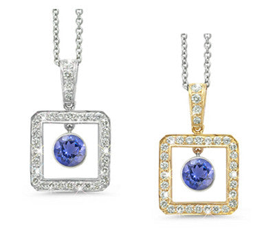 Square Iolite & Diamond Pendant Necklace