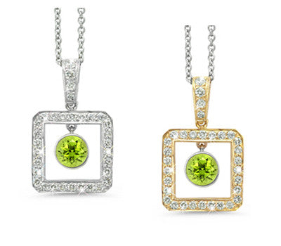 Square Peridot & Diamond Pendant Necklace