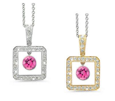 Square Pink Tourmaline & Diamond Pendant Necklace