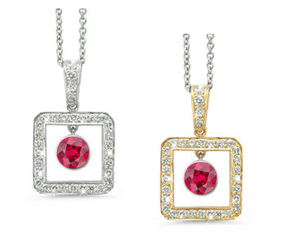 Square Ruby & Diamond Pendant Necklace