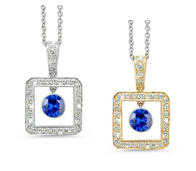 Square Blue Sapphire & Diamond Pendant Necklace