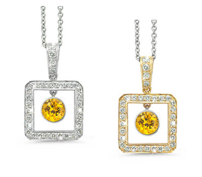 Square Yellow Sapphire & Diamond Pendant Necklace