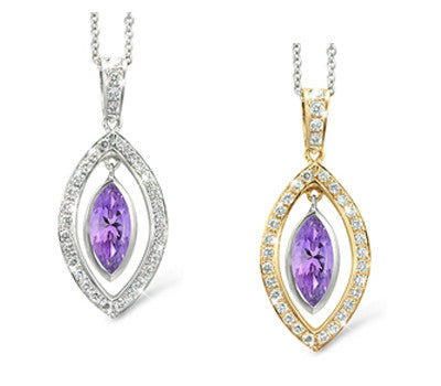 Twin Marquis Amethyst & Diamond Pendant Necklace