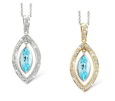 Twin Marquis Aquamarine & Diamond Pendant Necklace