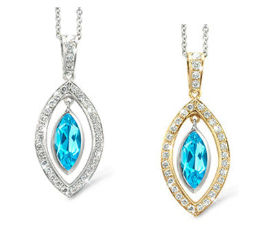 Twin Marquis Blue Topaz & Diamond Pendant Necklace
