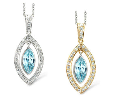 Twin Marquis Blue Zircon & Diamond Pendant Necklace