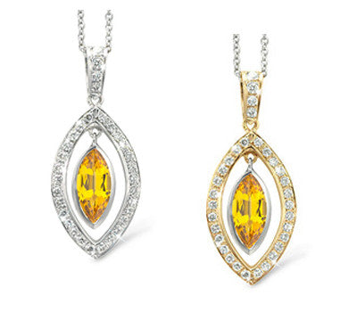 Twin Marquis Citrine & Diamond Pendant Necklace
