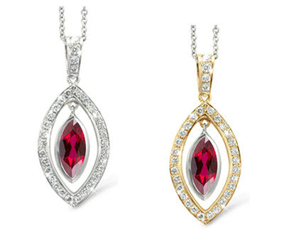 Twin Marquis Garnet & Diamond Pendant Necklace