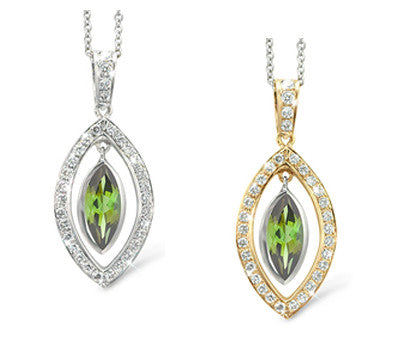 Twin Marquis Green Tourmaline & Diamond Pendant Necklace