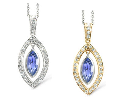 Twin Marquis Iolite & Diamond Pendant Necklace
