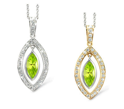 Twin Marquis Peridot & Diamond Pendant Necklace
