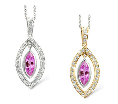 Twin Marquis Pink Sapphire & Diamond Pendant Necklace