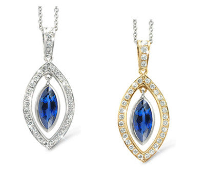 Twin Marquis Blue Sapphire & Diamond Pendant Necklace