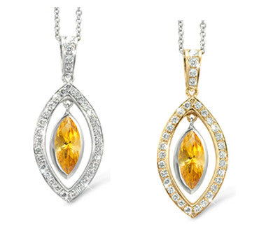 Twin Marquis Yellow Sapphire & Diamond Pendant Necklace