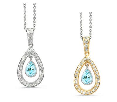Twin Pear Aquamarine & Diamond Pendant Necklace