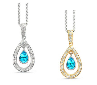 Twin Pear Blue Topaz & Diamond Pendant Necklace