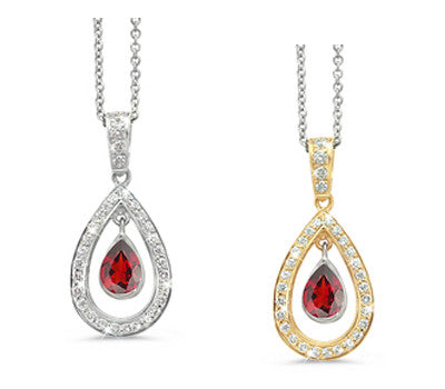 Twin Pear Garnet & Diamond Pendant Necklace