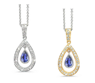 Twin Pear Iolite & Diamond Pendant Necklace