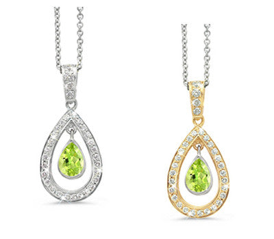 Twin Pear Peridot & Diamond Pendant Necklace