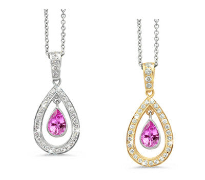 Twin Pear Pink Sapphire & Diamond Pendant Necklace
