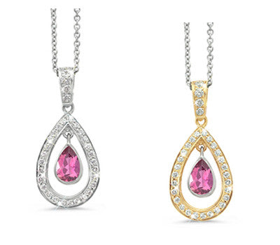 Twin Oval Pink Tourmaline & Diamond Pendant Necklace