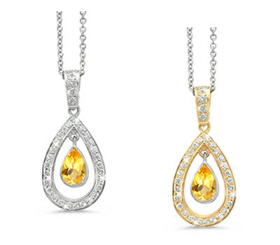 Twin Pear Yellow Sapphire & Diamond Pendant Necklace