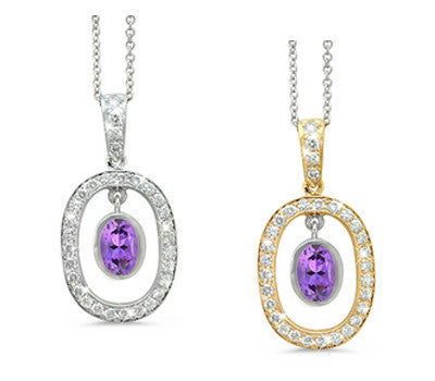 Twin Oval Amethyst & Diamond Pendant Necklace