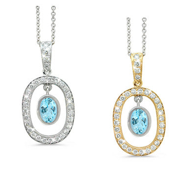 Twin Oval Aquamarine & Diamond Pendant Necklace