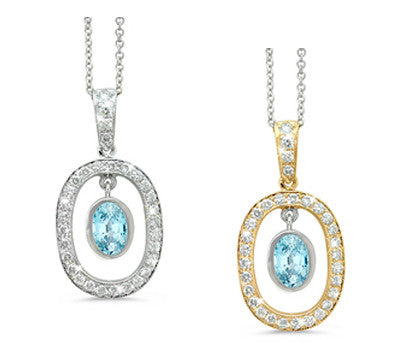 Twin Oval Blue Zircon & Diamond Pendant Necklace