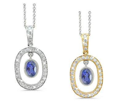 Twin Oval Iolite & Diamond Pendant Necklace