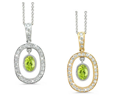 Twin Oval Peridot & Diamond Pendant Necklace
