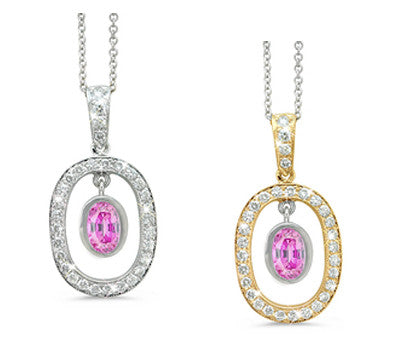 Twin Oval Pink Sapphire & Diamond Pendant Necklace