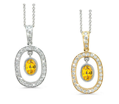 Twin Oval Yellow Sapphire & Diamond Pendant Necklace