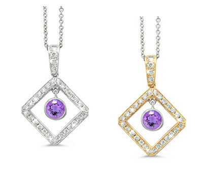 Diagonal Square and Circle Amethyst & Diamond Pendant Necklace