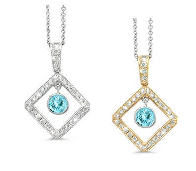Diagonal Square and Circle Aquamarine & Diamond Pendant Necklace