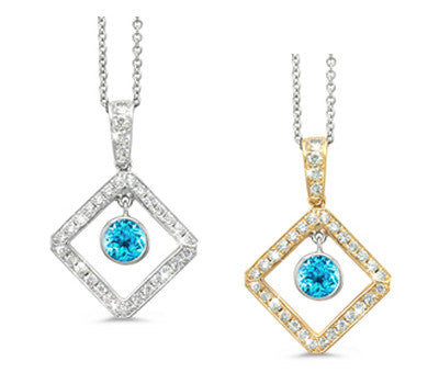Diagonal Square and Circle Blue Topaz & Diamond Pendant Necklace