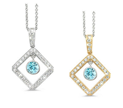 Diagonal Square and Circle Blue Zircon & Diamond Pendant Necklace