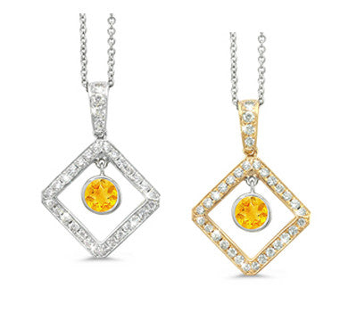 Diagonal Square and Circle Citrine & Diamond Pendant Necklace