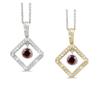 Diagonal Square and Circle Garnet & Diamond Pendant Necklace