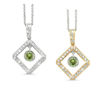 Diagonal Square and Circle Green Tourmaline & Diamond Pendant Necklace