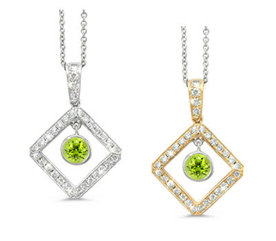 Diagonal Square and Circle Peridot & Diamond Pendant Necklace