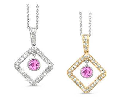 Diagonal Square and Circle Pink Sapphire & Diamond Pendant Necklace