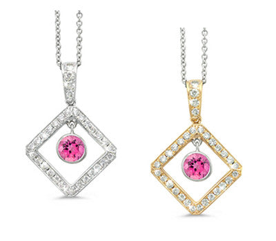Diagonal Square and Circle Pink Tourmaline & Diamond Pendant Necklace