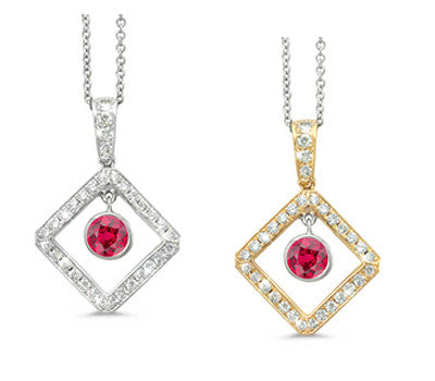 Diagonal Square and Circle Ruby & Diamond Pendant Necklace
