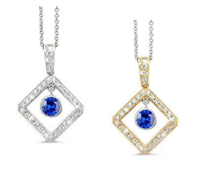 Diagonal Square and Circle Blue Sapphire & Diamond Pendant Necklace