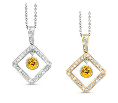 Diagonal Square and Circle Yellow Sapphire & Diamond Pendant Necklace